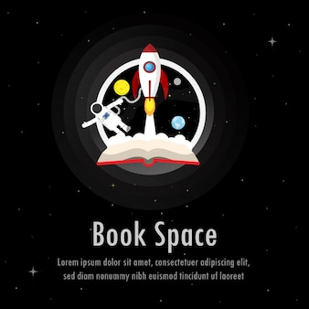 Rocket coming out of a book