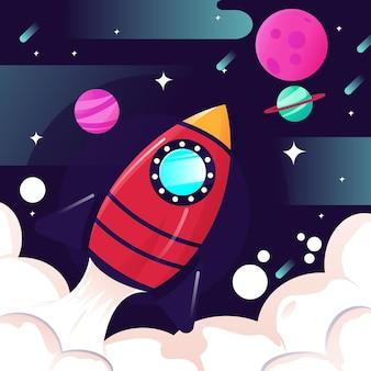 宇宙でのロケットの描画