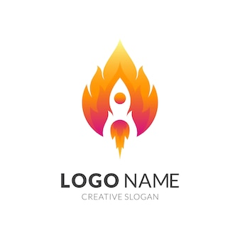 Rocket and fire, combination logo with 3d red and yellow color