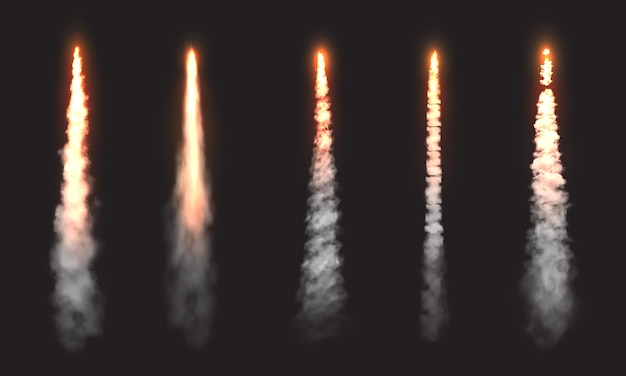 Rocket fire smoke trails, spacecraft startup launch clouds. vector space jet fire flames, airplane or shuttle straight contrails in sky, realistic 3d design elements set isolated on black background