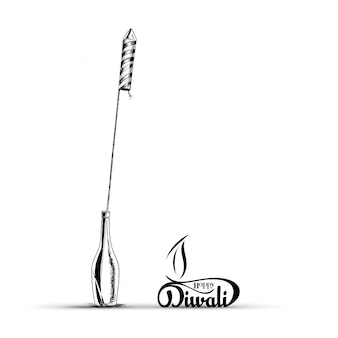 Rocket firecrackers in a pot happy diwali - hand drawn sketch, vector background.