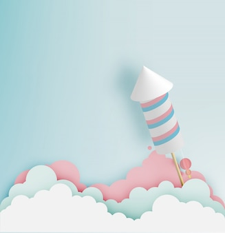 Rocket firework with pastel tone background in paper art
