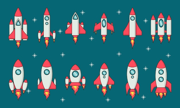 Rocket flat design collection