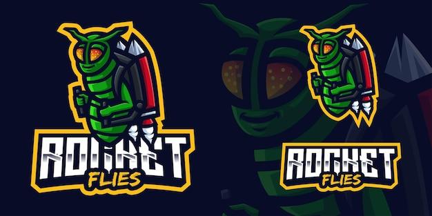 Rocket flies gaming mascot logo for esports streamer and community