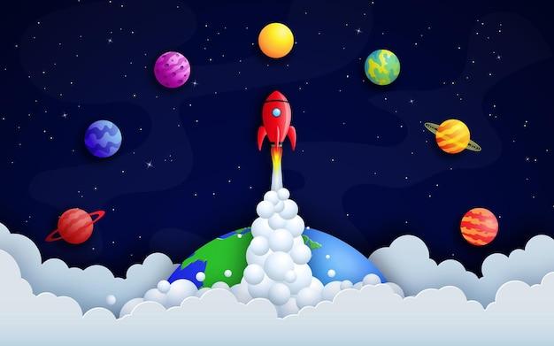 Ракета пролетает над землей среди планет и звездного космоса.