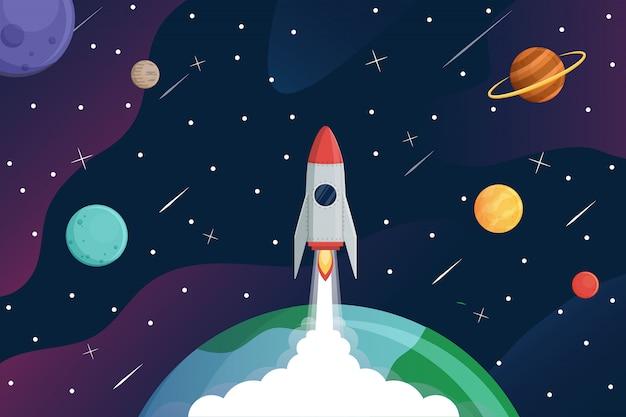 ロケットが銀河に飛ぶ、