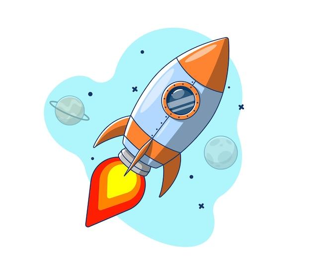 惑星を過ぎて宇宙に飛んでいるロケット