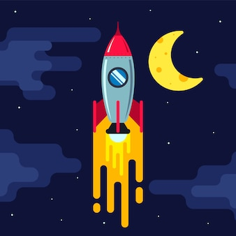 Rocket flying in the night sky. moand stars. flat