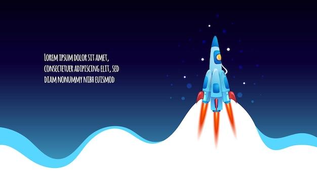 구름 위로 날아 로켓, 우주선 발사. 사업 시작 만화 그림
