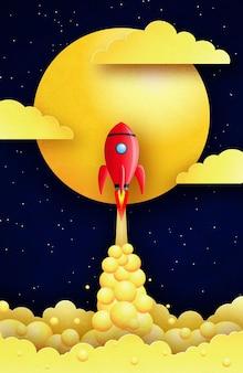 Ракета летит над звездным галактическим пространством между солнцем и облаками. стиль вырезки из бумаги.