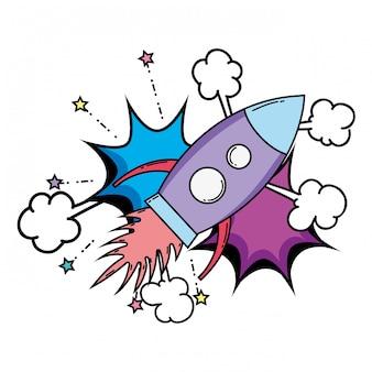 Rocket flying pop art style