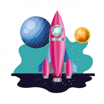 Rocket flying with planets of the solar system isolated