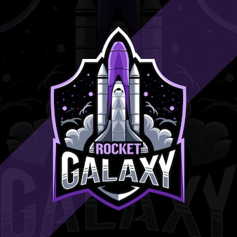 Rocket galaxy mascot logo esport template design