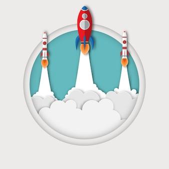 상자 밖의 로켓 그룹. 우주 왕복선은 원에서 방출 된 하늘로 발사된다. 시작 비즈니스 개념.