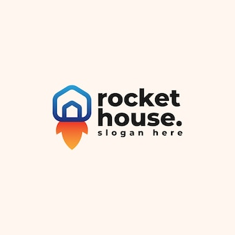 Rocket house logo design template -  app and technology company logo