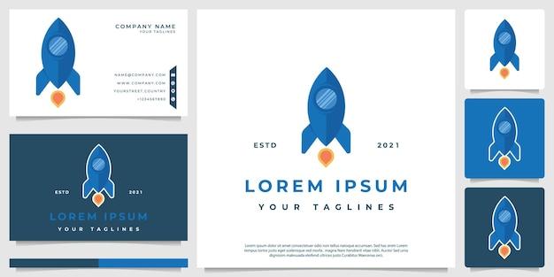 Логотип ракеты с плоским стилем дизайна
