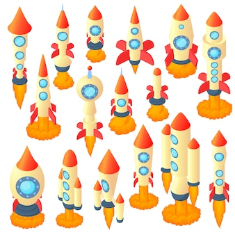Rocket icons set in cartoon style