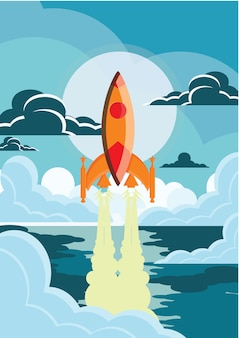 Rocket illustration poster