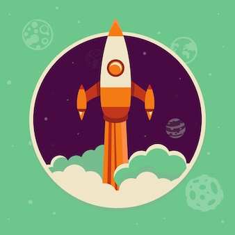 Rocket illustration startup concept in flat style