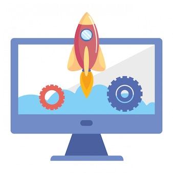 Rocket inside computer design vector illustration