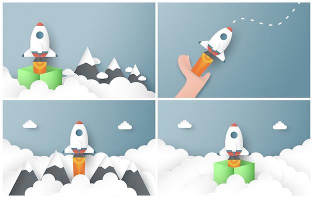 Rocket is flying on blue sky.
