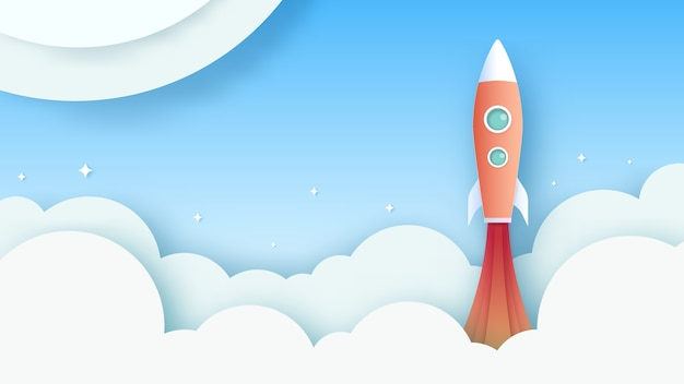Rocket is flying on the sky. business concept vector paper art style