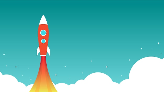 Rocket is flying on the sky.