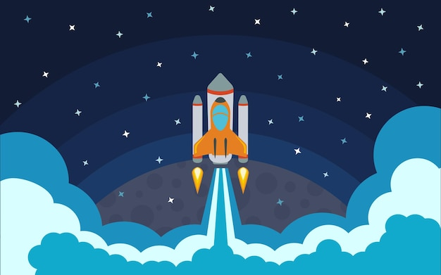 The rocket is removed from the planet. the rocket in space. space travel. vector illustration with flying rocket.