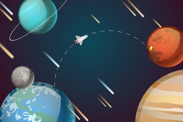 Rocket journey in planet system  illustration. space transport path to mars, tap mark on object, space exploration.