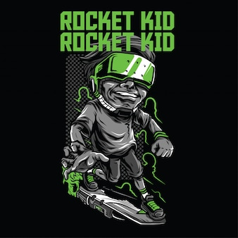 Rocket kid illustration
