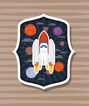 Rocket over label with planets