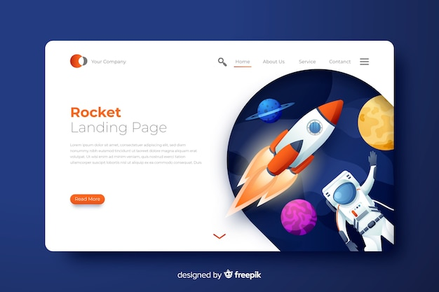 Rocket landing page with astronaut