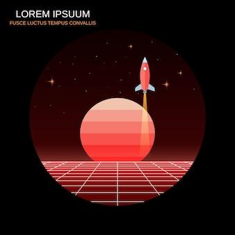 ロケットの打ち上げ1980年代のレトロな未来的なスタイルのベクトル図