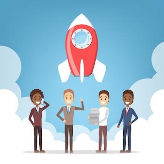 スタートアップのメタファーとしてのロケット打ち上げ。事業開発コンセプト。起業家精神のコンセプトです。人々は成功を収めます。平らな