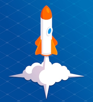 Rocket launch background cartoon. takeoff phase of the flight, orbital spaceflights in air, business startup symbol.  flat style cartoon illustration isolated on and blue background