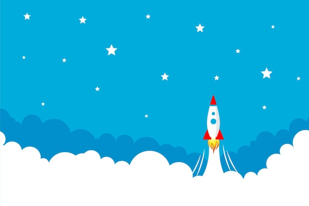 Rocket launch over the cloud in the sky background Free Vector