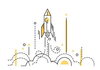 Rocket launch. creative start up. flat thin line design elements. vector illustration