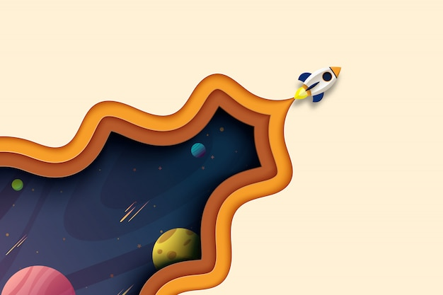 Rocket launch explore to galaxy outer space landing page template paper cut abstract background.