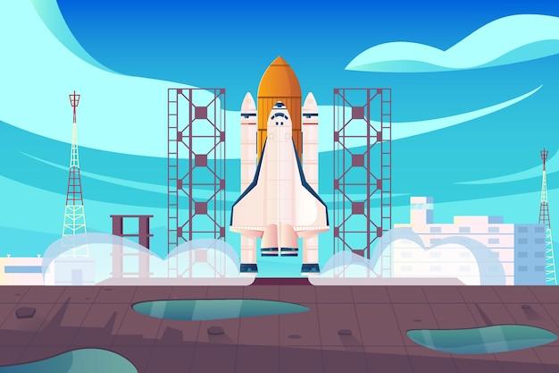 우주 센터 건물과 시작 로켓 일러스트와 함께 발사 사이트를 볼 수있는 로켓 발사 평면 구성