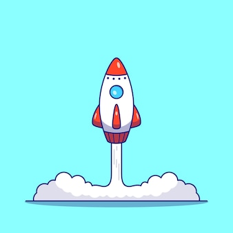 Rocket launch flat  illustration isolated