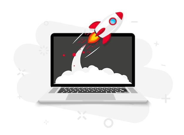 노트북 화면에서 로켓 발사. 로켓 이륙. 비즈니스 시작, 새로운 제품 또는 서비스 출시. 성공적인 시작은 새로운 비즈니스 프로젝트를 시작합니다. 창의적이거나 혁신적인 아이디어. 로켓 발사