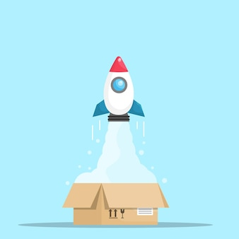 Rocket launch from open box think out of box concept vector illustration flat design