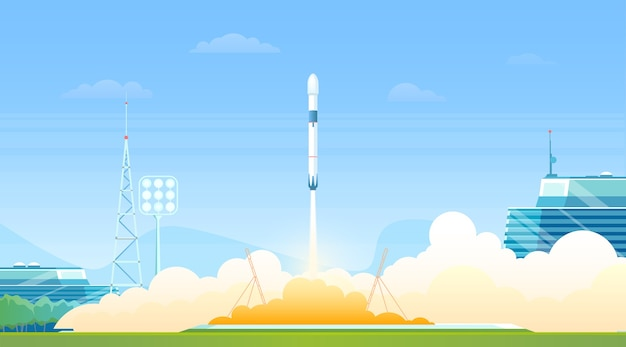 Rocket launch from spaceship station