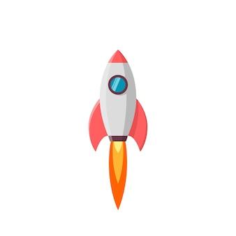 ロケット打ち上げ。白のイラスト
