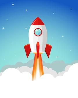 Rocket launch illustration. product business launch concept design ship vector technology background.