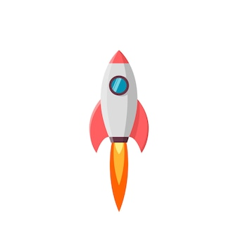 Rocket launch.  illustration  on white