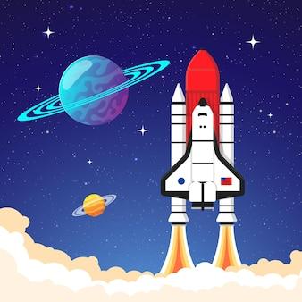 우주 행성 별 어두운 하늘에서 로켓 발사