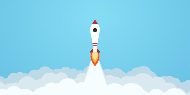 空を飛んでロケット発射。ビジネスコンセプト。フラットスタイルのシンプルでモダンな漫画のデザイン