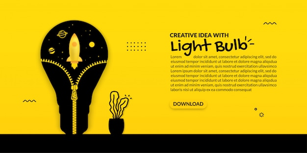 Rocket launch inside light bulb with opening zip, growing idea on yellow background