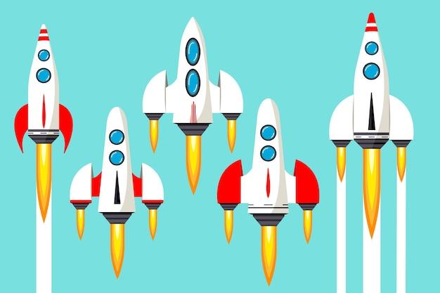 ロケットが宇宙に打ち上げられます。アイデアのコンセプト、スタートアップ。上向きの動き。フラットスタイルのベクトルイラスト。